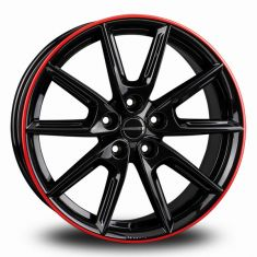 Borbet LX18 Black Red Black Glossy Rim Red 18/8