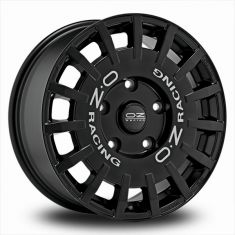 OZ Rally Racing Black MATT BLACK SILVER LETTERING 18/8