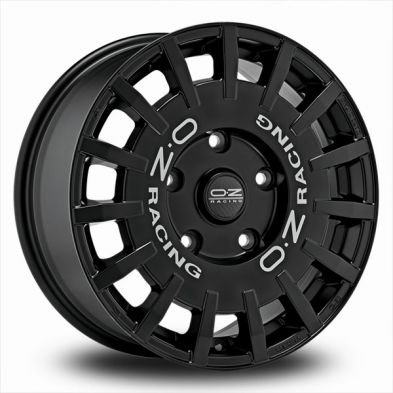 OZ Rally Racing Black MATT BLACK SILVER LETTERING 18/7.5