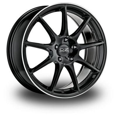 OZ Veloce GT GLOSS BLACK+DIAMOND LIP+SILVER LETTERING 17/7.5